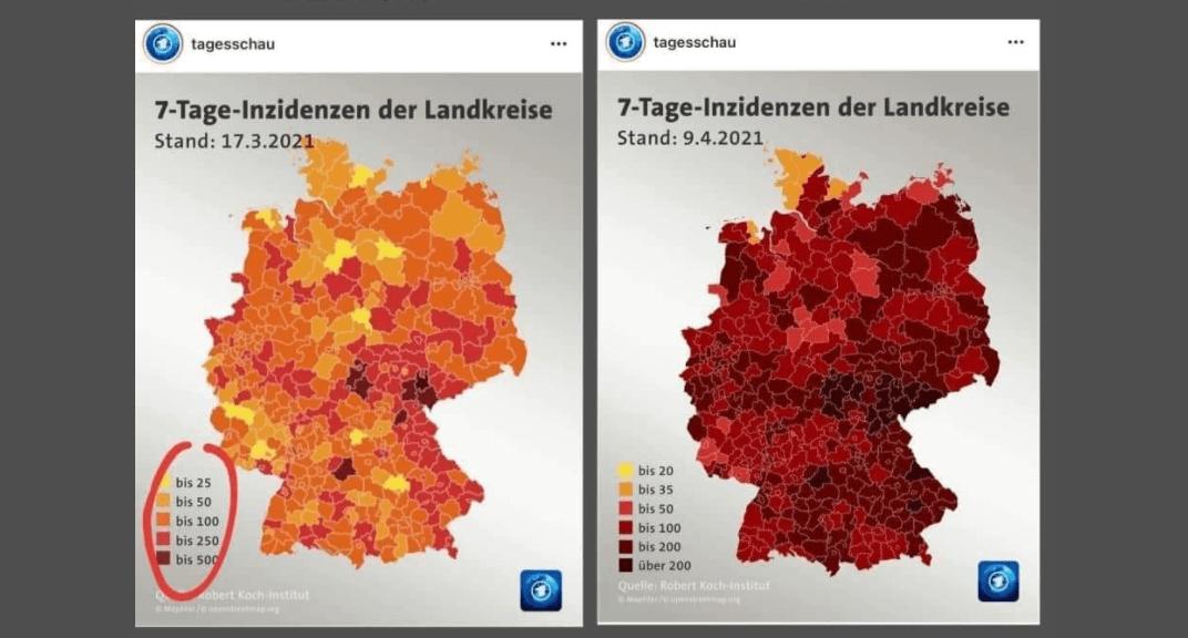 """Diese """"Tagesschau""""-Karten zeigen verschiedene Darstellungen der Inzidenzwerte für TV und Online"""