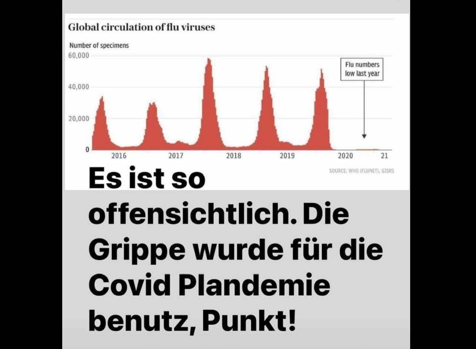 Die auf Facebook kursierende Grafik, mit der fälschlicherweise behauptet wird, Grippefälle seien benutzt worden, um die Corona-Pandemie auszurufen. (Quelle: Facebook / Screenshot: CORRECTIV.Faktencheck)