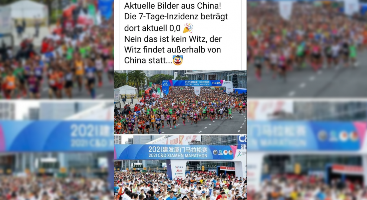 Auf Facebook kursieren zwei Fotos eines Marathons aus China. Die Bilder sind echt und aktuell. (Quelle: Facebook / Screenshot und Collage: CORRECTIV.Faktencheck)
