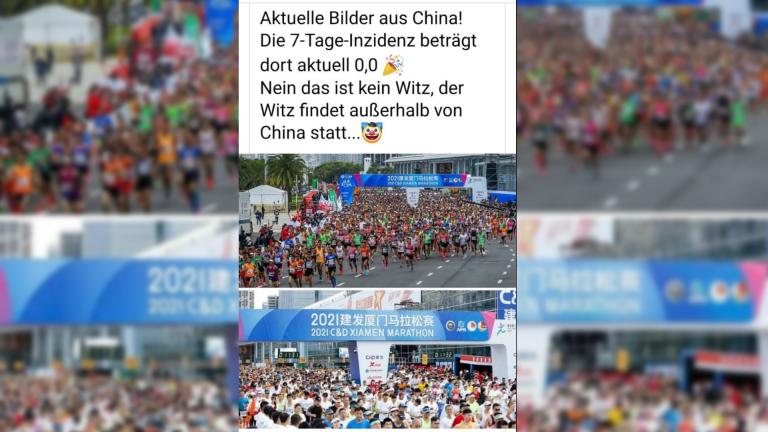 Ja, diese Fotos eines Marathons sind aus China und von April 2021