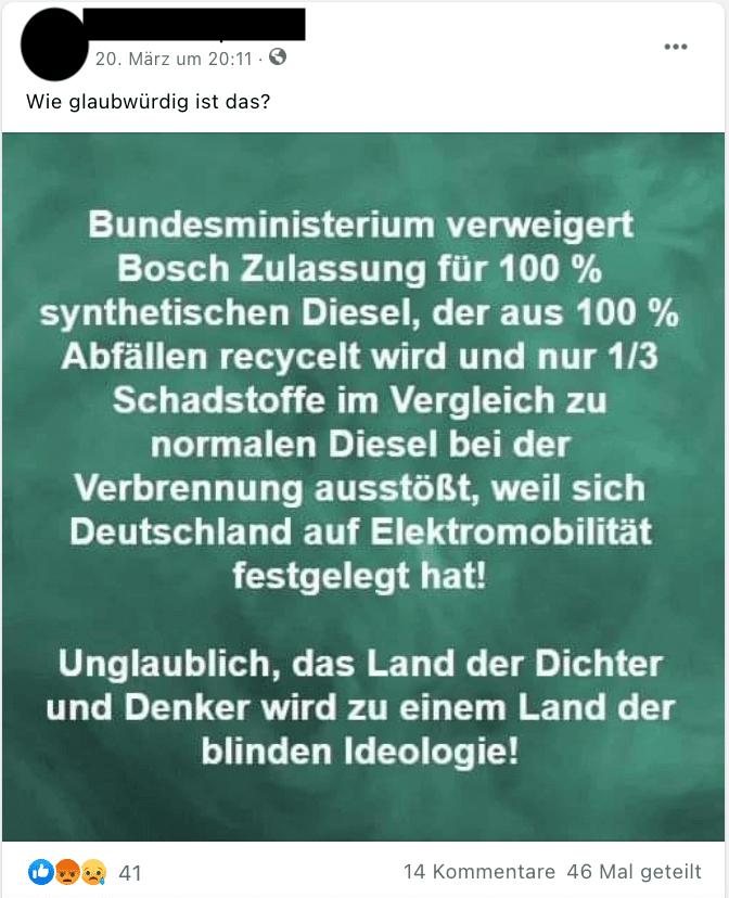 In dem aktuell kursierenden Facebook-Beitrag wird behauptet, Bosch sei die Zulassung für synthetischen Diesel verweigert worden.