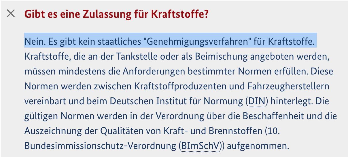 Antwort des Bundesumweltministeriums auf die Frage, ob es eine Zulassung für Kraftstoffe in Deutschland gibt