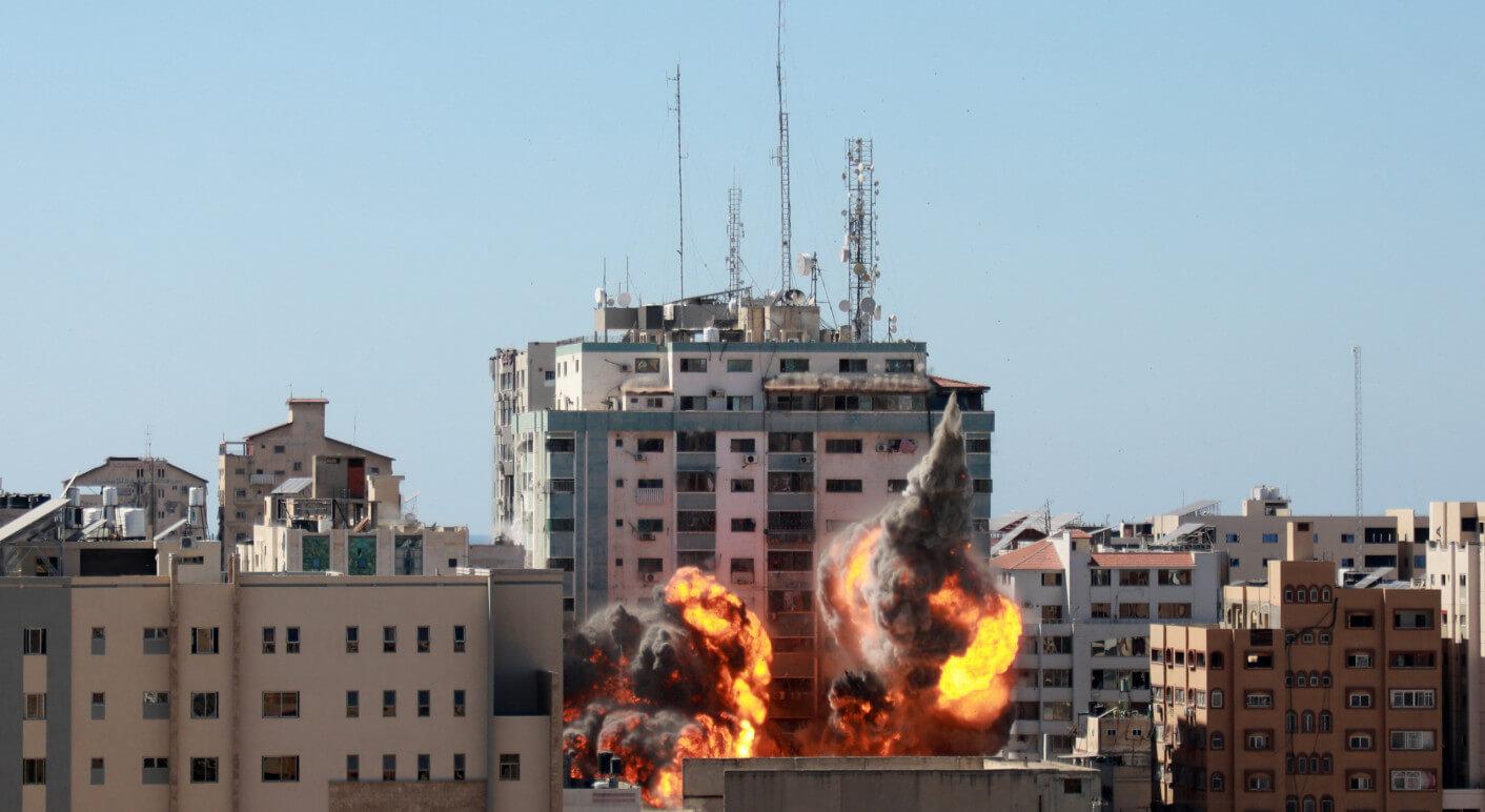 Israeli Air-strike Hits Al-Jalaa Tower In Gaza