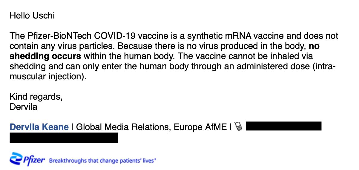 Die E-Mail der Pressesprecherin von Pfizer (Screenshot: CORRECTIV.Faktencheck)