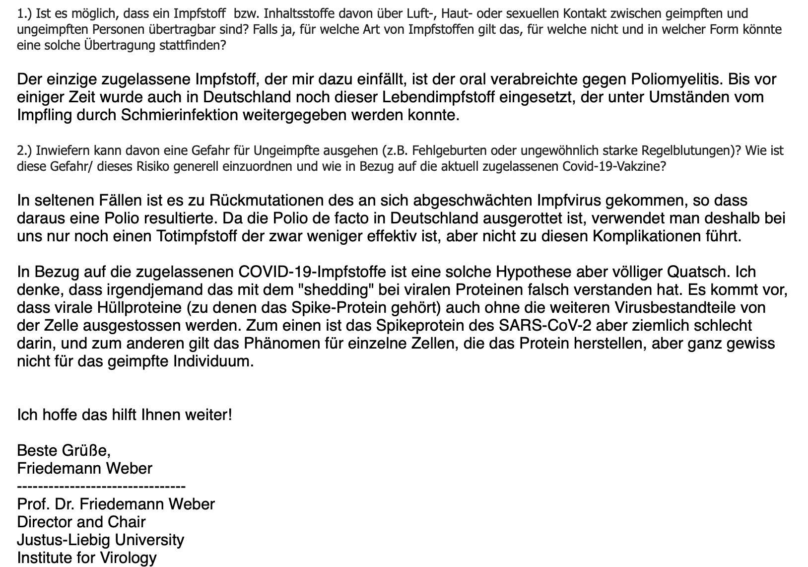 Die E-Mail von Virologe Friedemann Weber (Screenshot: CORRECTIV.Faktencheck)
