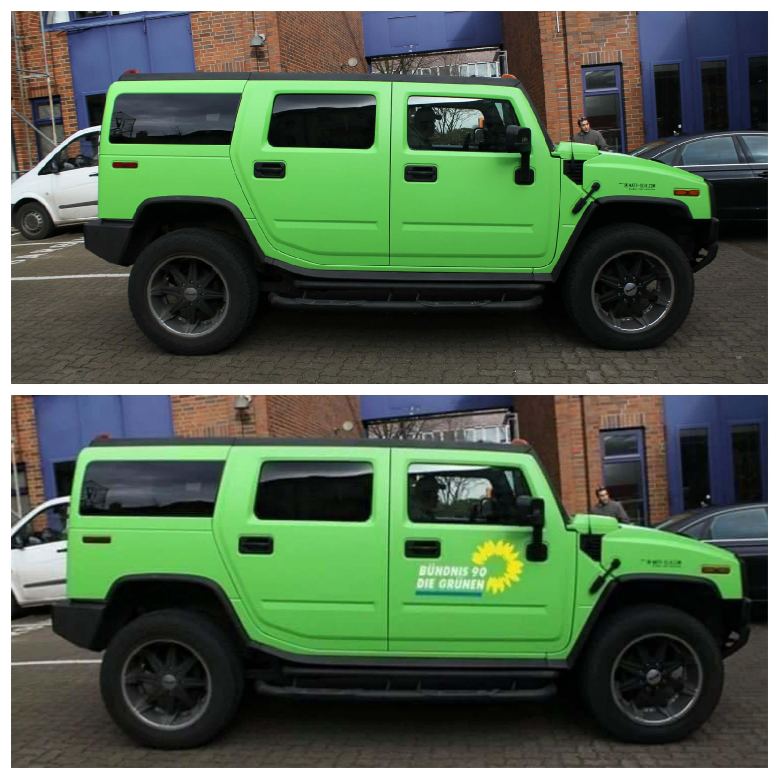 Dieses Foto eines Hummers wurde manipuliert: Die Originalversion ist oben zu sehen, die manipulierte Version mit dem Logo von Bündnis 90/Die Grünen unten.