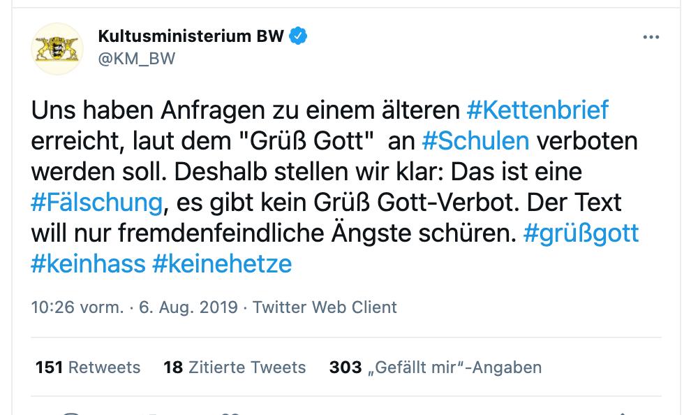 """In einem Tweet von August 2019 bezeichnete das baden-württembergische Kultusministerium den kursierenden Kettenbrief als """"fremdenfeindlich"""" (Quelle: Twitter /Screenshot: CORRECTIV.Faktencheck)"""