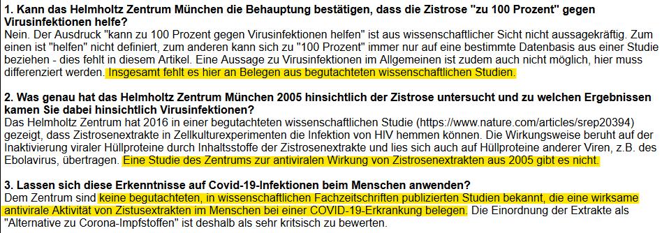 Auszug aus der E-Mail einer Pressesprecherin des Helmholtz-Zentrums München