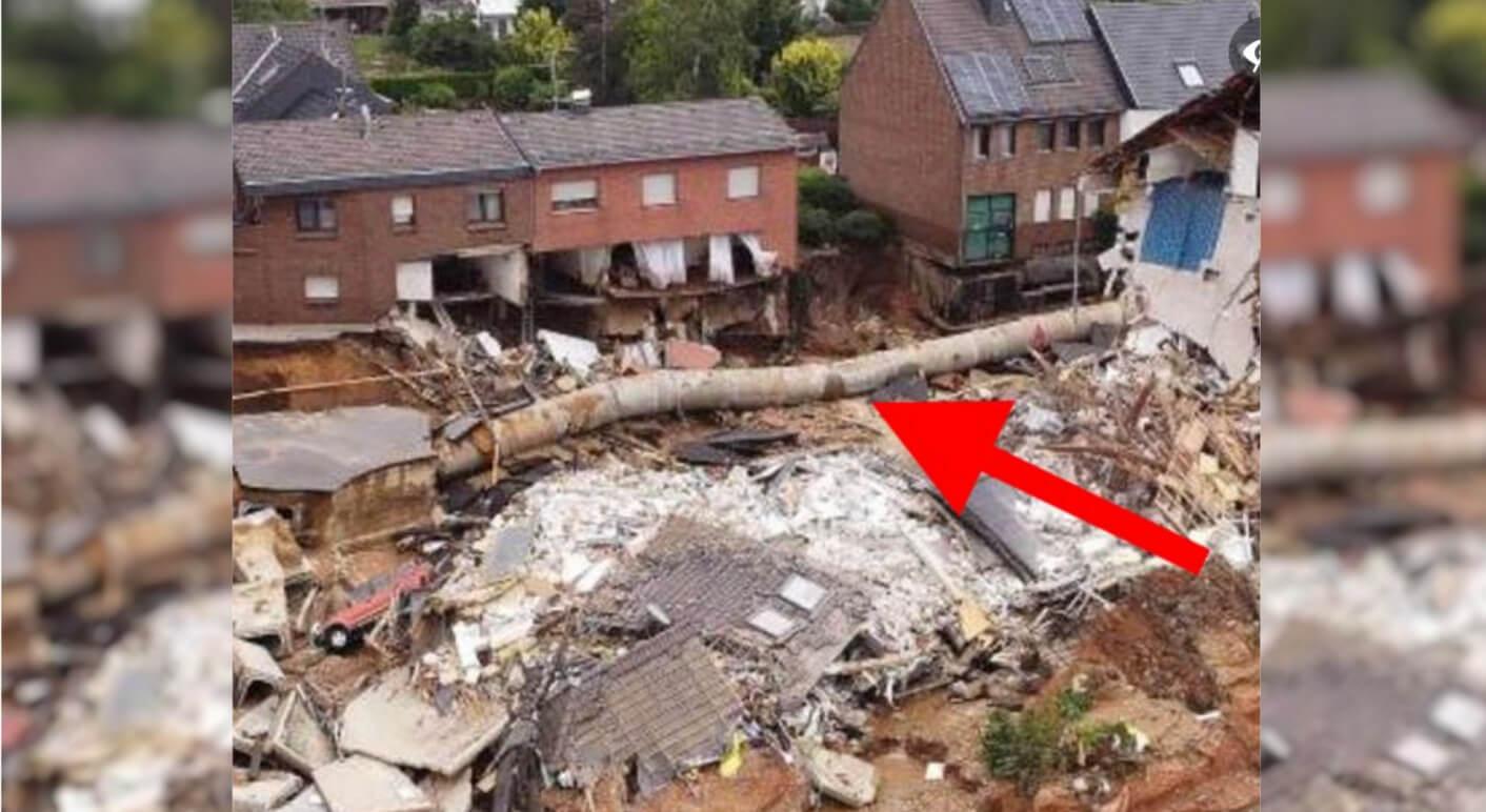 Zu diesem Foto wird auf Facebook behauptet, es handele sich um ein Rohr, mit dem ein Bach unterirdisch umgeleitet werde. Das ist falsch: Es handelt sich um einen Abwasserkanal. (Screenshot und Collage: CORRECTIV.Faktencheck)