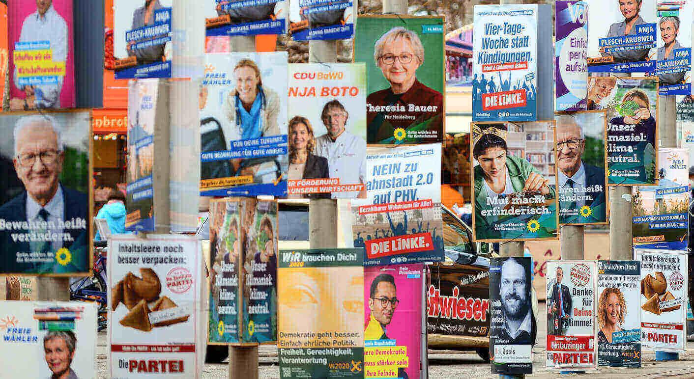BU: Wahlkämpfe, wie hier in Heidelberg, kosten viel Geld. Parteispenden spielen dabei eine zentrale Rolle. Foto: Daniel Kubirski /picture alliance