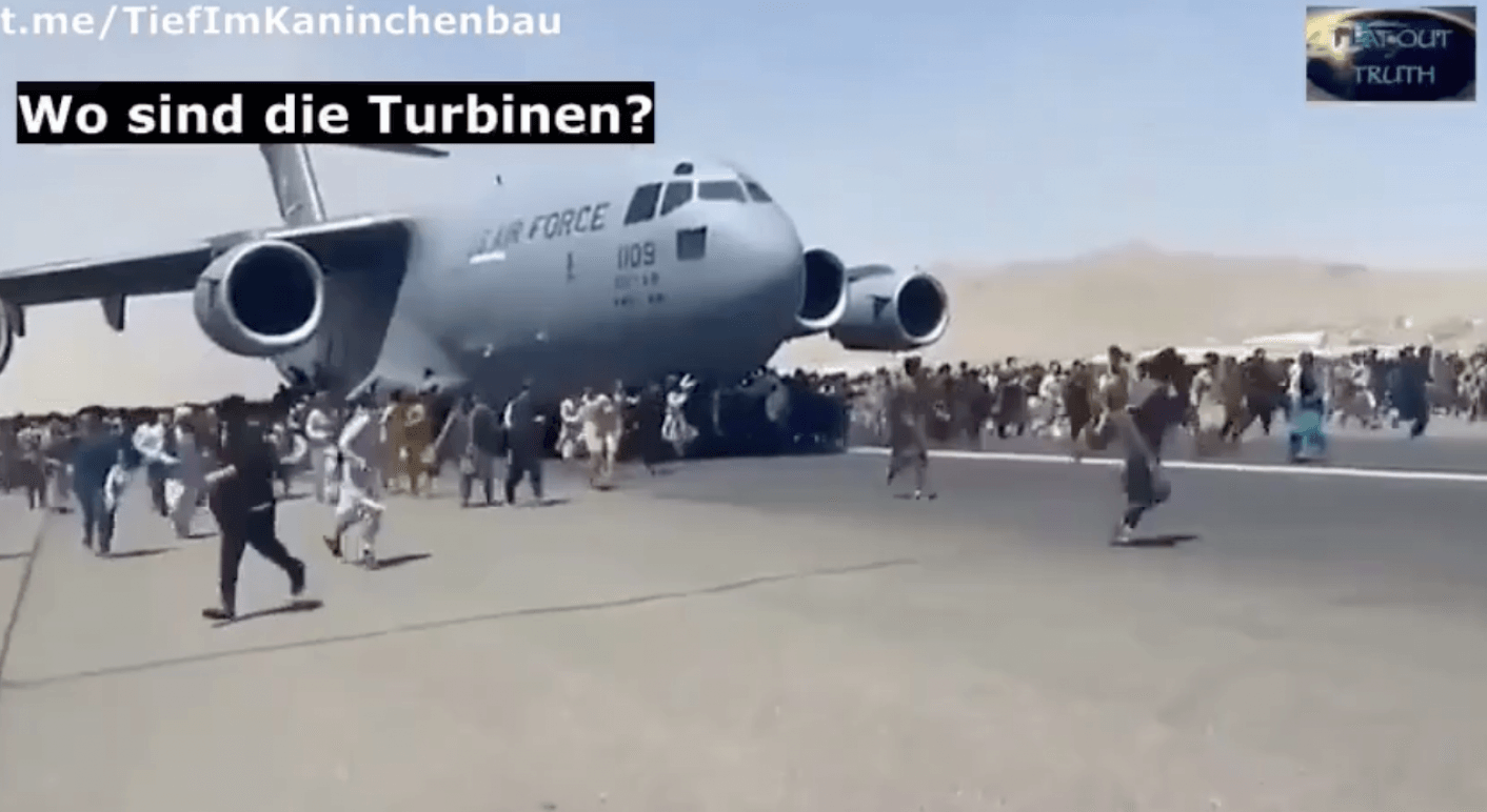Screenshot eines Videos von Telegram über das Flugzeug in Kabul