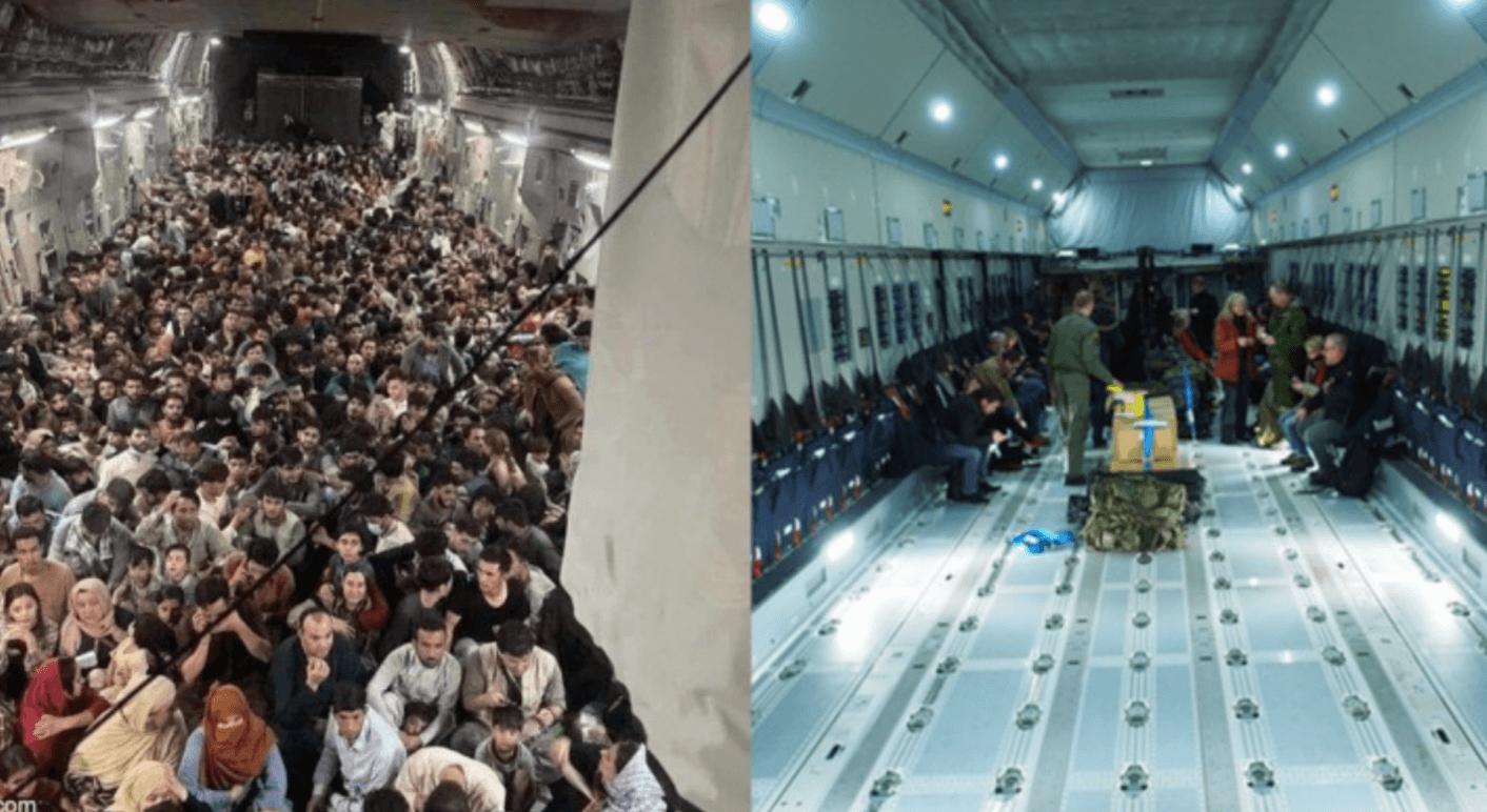 Diese beiden Fotos werden aktuell in Sozialen Netzwerken im Zusammenhang mit Evakuierungen aus Afghanistan verbreitet. Das linke ist aktuell und zeigt den Innenraum einer US-Luftwaffen-Maschine, das rechte jedoch zeigt den Innenraum einer Bundeswehr-Maschine und ist nicht aktuell. (Quelle: Reddit/ Screenshot: CORRECTIV.Faktencheck)