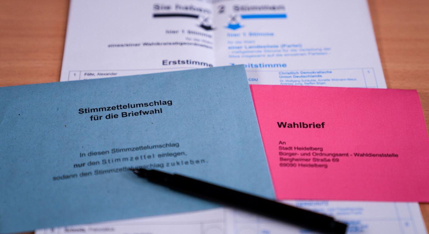 Stimmzettel für die Bundestagswahl 2021