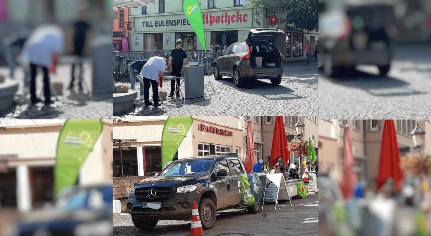 In Sozialen Netzwerken kursieren Bilder, die angeblich große Autos bei Bundestags-Wahlkampfveranstaltungen der Grünen zeigen sollen (Quelle: Facebook / Collage: CORRECTIV.Faktencheck)
