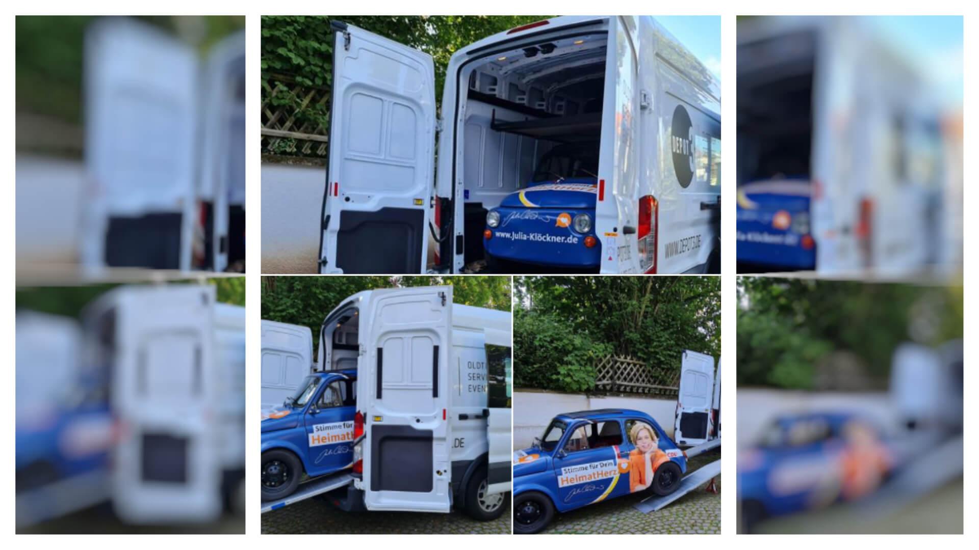 Nein, diese Fotos zeigen nicht, wie Julia Klöckners Elektroauto mit einem Transporter zu Wahlkampfauftritten gebracht wird